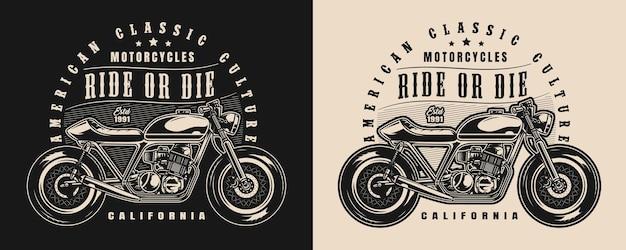 Klassiek motorfiets vintage label met belettering en motor in zwart-wit stijl