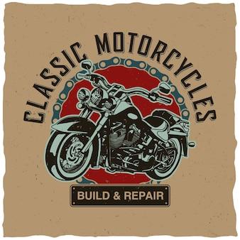 Klassiek motorfietsenontwerp voor t-shirtdruk