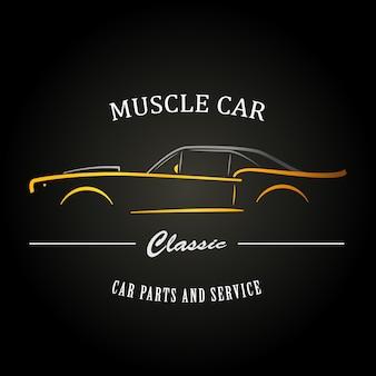 Klassiek muscle car-silhouet.