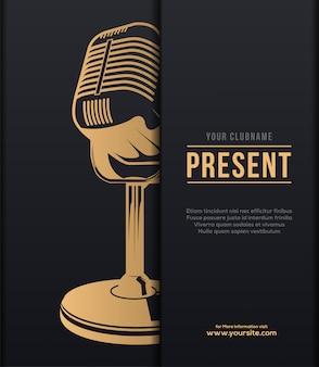Klassiek muziekoverleg in gouden affiche