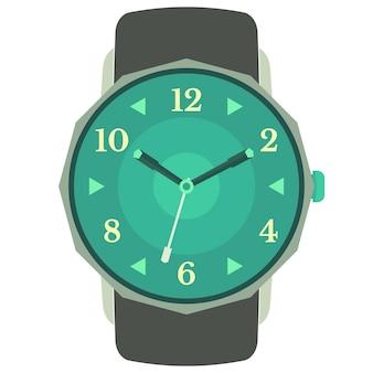Klassiek ontwerp mechanisch polshorloge geïsoleerd op een witte achtergrond. wijzerplaat met uren-, minuten- en secondewijzers. vector illustratie.