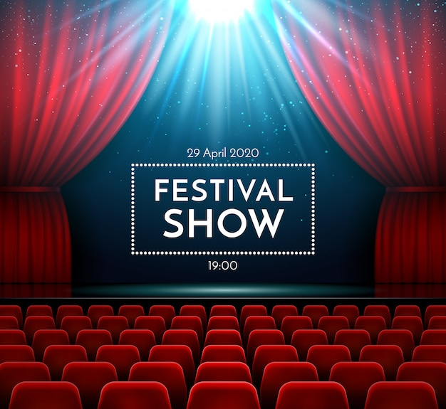 Klassiek opera publiek drama muziekconcert show toneelinterieur met fluwelen rood gordijn, felle schijnwerpers en theaterstoelen.
