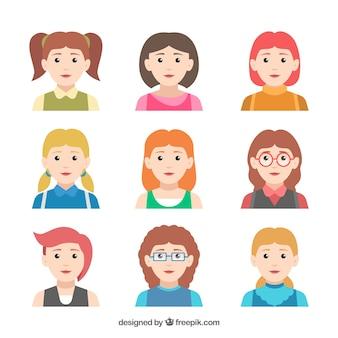 Klassiek pak plat vrouwelijke avatars