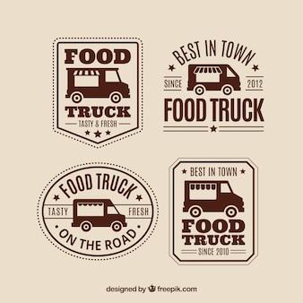 Klassiek pak vintage logotypes van het voedselvrachtwagen