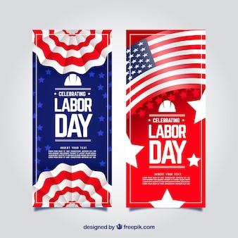 Klassiek pakket van de banners van de arbeidsdag met vlak ontwerp