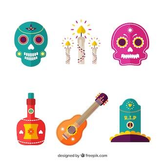 Klassiek pakket van mexicaanse elementen