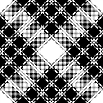 Klassiek pixel plaid zwart wit naadloos patroon