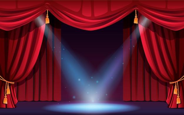 Klassiek podium met gordijnen en schijnwerpers