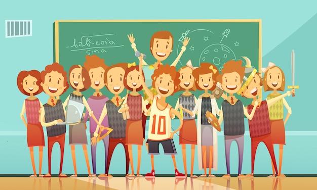 Klassiek school onderwijs klaslokaal retro cartoon poster met lachende kinderen staan