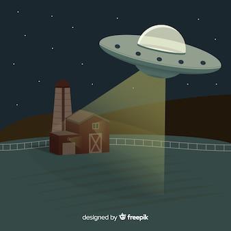 Klassiek ufo-abductieconcept met plat ontwerp