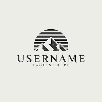 Klassiek vintage berg plat logo