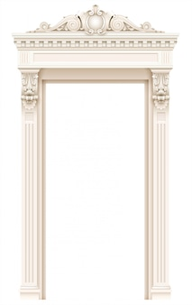 Klassiek wit architecturaal deurframe