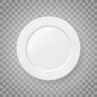 Klassiek wit realistisch voedselbord porseleinen servies bovenaanzicht 3d vectorillustratie