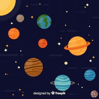 Klassiek zonnestelsel schema met platte deisgn