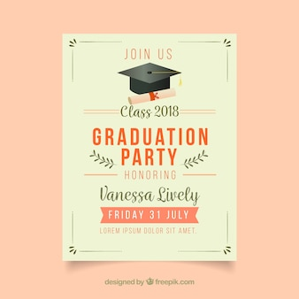 Klassieke afstuderen uitnodigingssjabloon met platte ontwerp