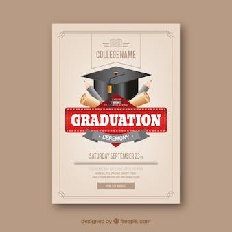 Klassieke afstuderen uitnodigingssjabloon met realistische ontwerp