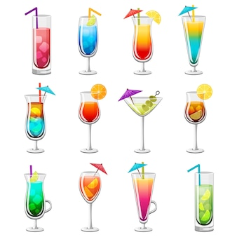 Klassieke alcohol cocktails set