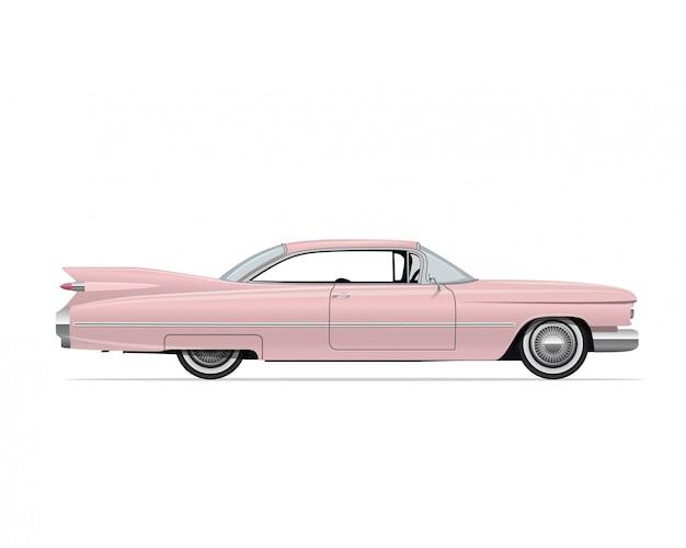 Klassieke amerikaanse vintage roze auto
