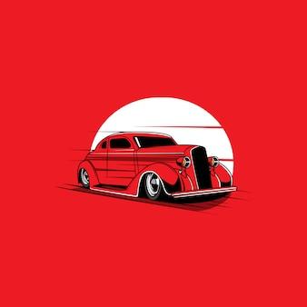 Klassieke auto en de maan