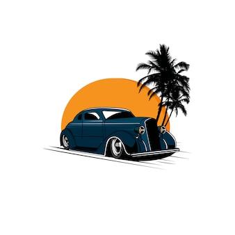 Klassieke auto en de zonsondergang