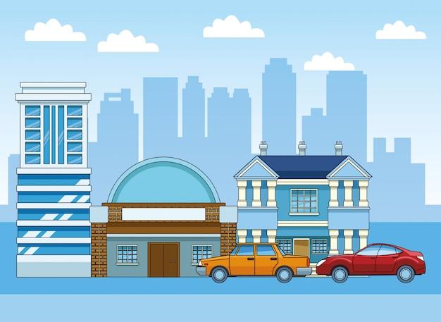 Klassieke auto en sportkat over stadsgebouwen
