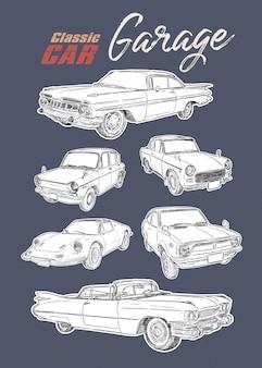 Klassieke auto, hand tekenen schets vector.