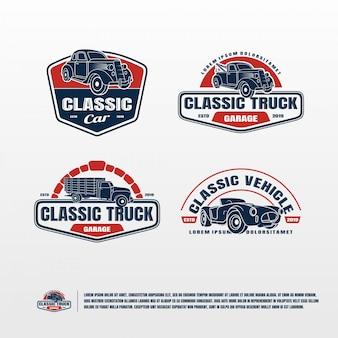 Klassieke auto logo bundel vector sjabloon