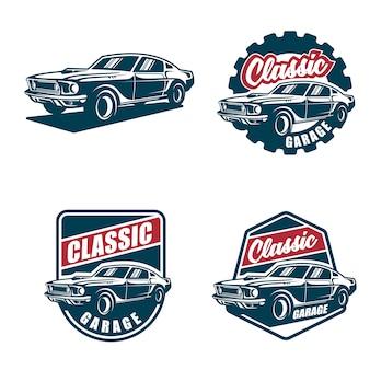 Klassieke auto logo en badges