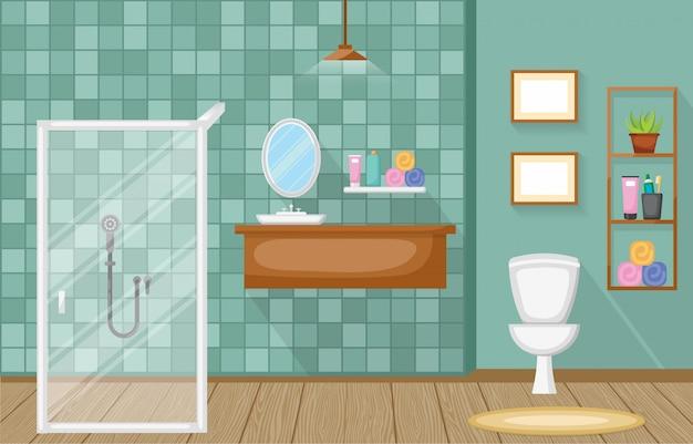 Klassieke badkamer interieur schone kamer houten accent meubels plat ontwerp