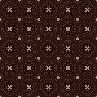 Klassieke batik naadloze patroon achtergrond. luxe geometrisch mandala behang. elegant traditioneel bloemenmotief in bruine kleur