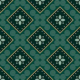 Klassieke batik naadloze patroon achtergrond. luxe geometrisch mandala behang. elegant traditioneel bloemenmotief in groene kleur