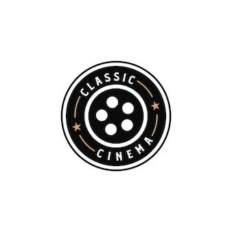 Klassieke bioscoop vintage retro hipster silhouet logo ontwerpen elementen