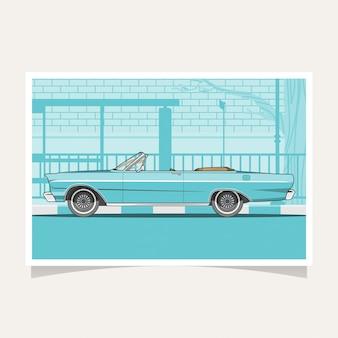 Klassieke blauwe auto conceptuele vlakke de illustratievector van het ontwerp