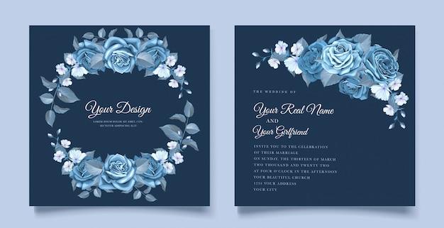 Klassieke blauwe bloemen bruiloft uitnodiging sjabloon