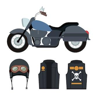 Klassieke blauwe motorfiets set