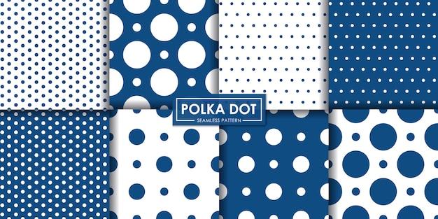 Klassieke blauwe polkadot naadloze patrooninzameling