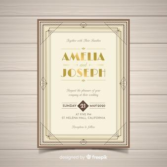 Klassieke bruiloft uitnodiging sjabloon in art decostijl met gouden elementen