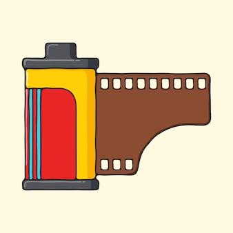 Klassieke camera hand getrokken pop-art stijl illustratie.