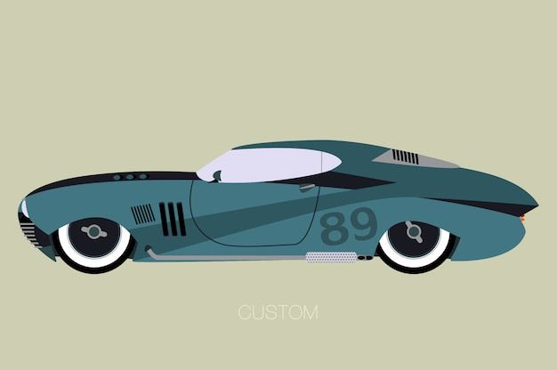Klassieke custon amerikaanse auto, zijaanzicht van auto, auto, motorvoertuig