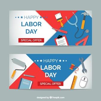 Klassieke dag van de arbeid banners met platte ontwerp