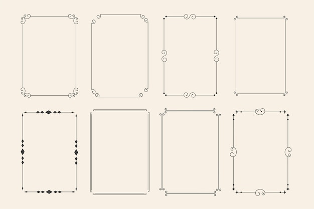 Klassieke decoratieve decoratieve frames set van acht