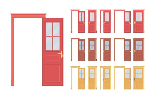 Klassieke deuren set, hout met glas, ingang van een gebouw, kamer