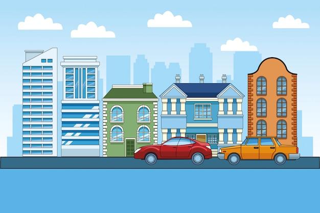 Klassieke en moderne gebouwen en auto's over stedelijke stad