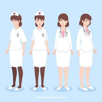 Klassieke en moderne vrouwelijke artsen met vlak ontwerp