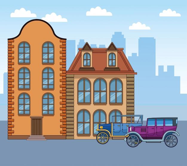 Klassieke gebouwen en auto's over stedelijke stad