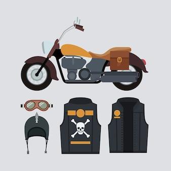 Klassieke gele motorfiets set