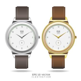Klassieke gouden en zilveren set voor het horloge