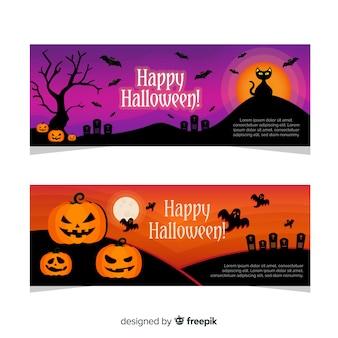 Klassieke halloween-banners met vlak ontwerp