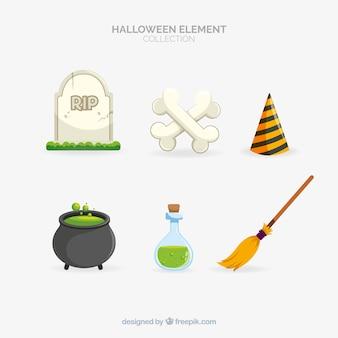 Klassieke halloween-elementencollectie met plat ontwerp
