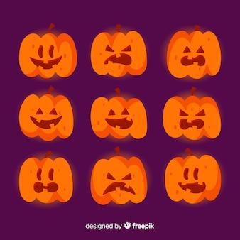 Klassieke halloween-pompoeninzameling met vlak ontwerp
